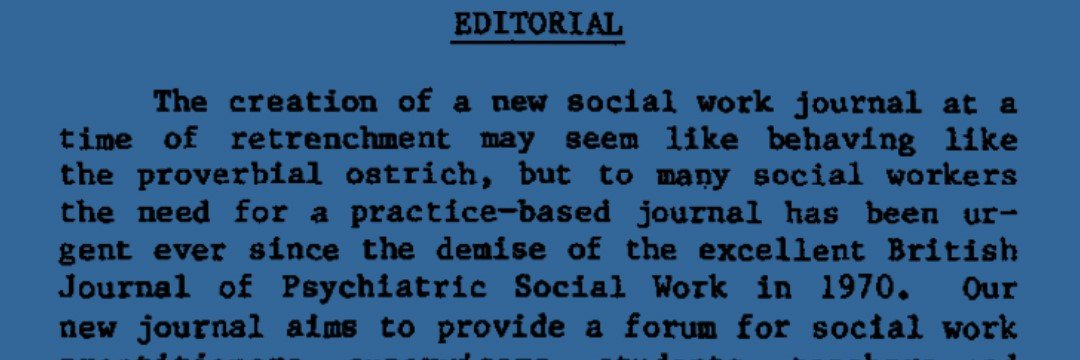 The First Editorial from the Journal of Social Work Practice